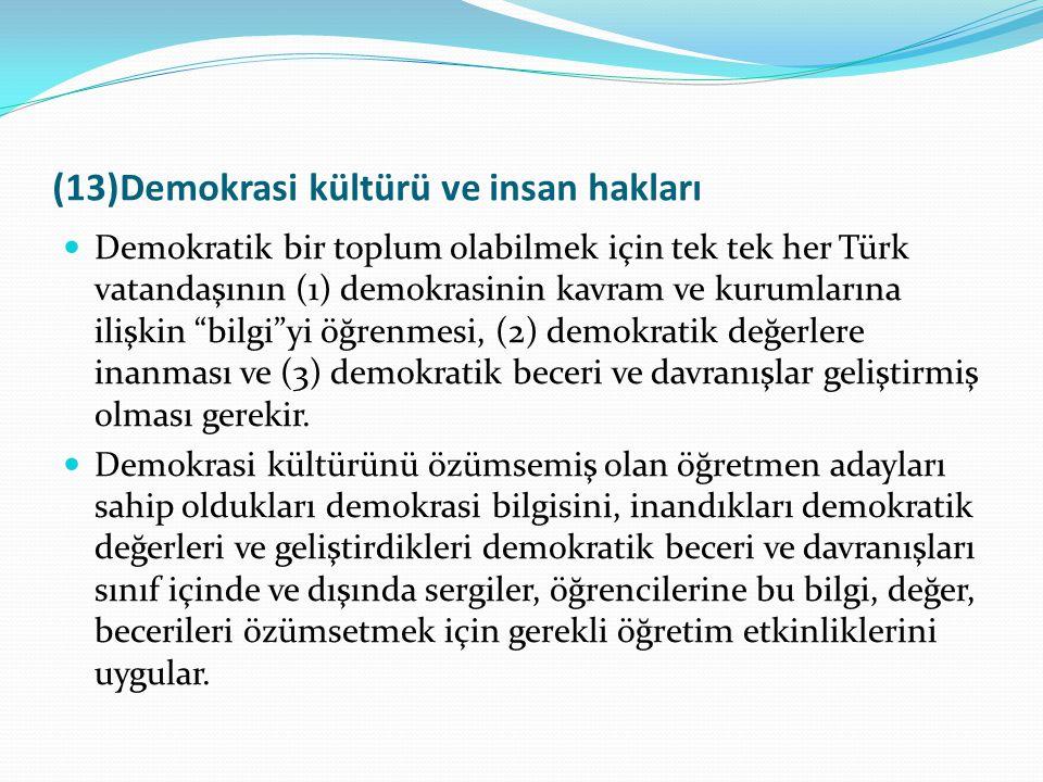 (13)Demokrasi kültürü ve insan hakları Demokratik bir toplum olabilmek için tek tek her Türk vatandaşının (1) demokrasinin kavram ve kurumlarına ilişk