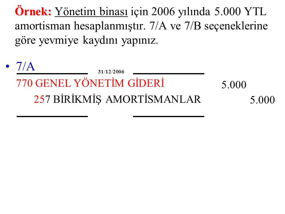 Örnek: Örnek: Yönetim binası için 2006 yılında 5.000 YTL amortisman hesaplanmıştır.