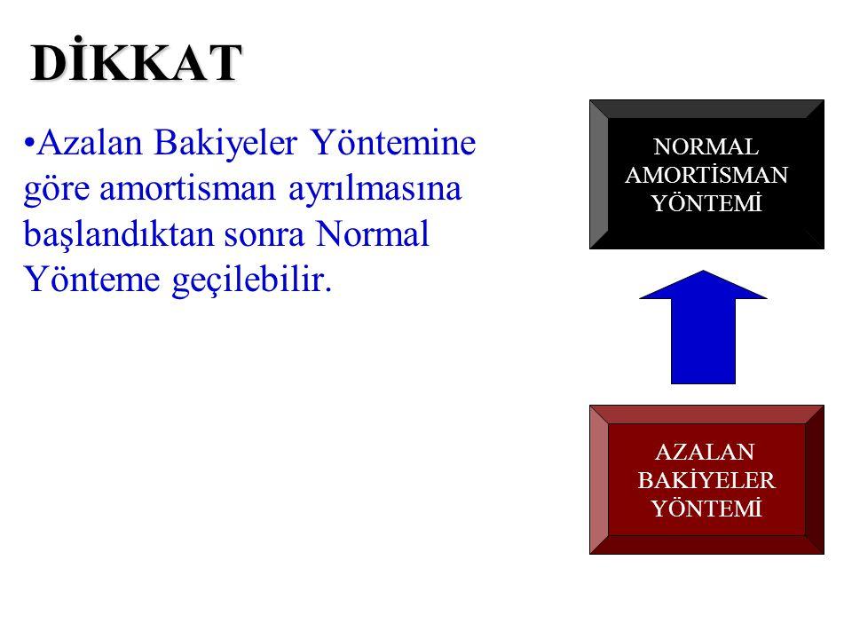 Azalan Bakiyeler Yöntemine göre amortisman ayrılmasına başlandıktan sonra ise Normal Yönteme geçilebilir.