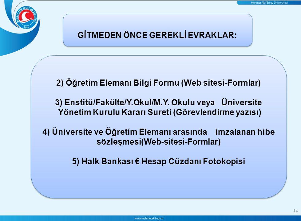 14 GİTMEDEN ÖNCE GEREKLİ EVRAKLAR: 2) Öğretim Elemanı Bilgi Formu (Web sitesi-Formlar) 3) Enstitü/Fakülte/Y.Okul/M.Y. Okulu veya Üniversite Yönetim Ku
