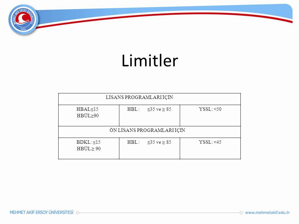 Limitler LİSANS PROGRAMLARI İÇİN HBAL≤15 HBÜL≥90 HBL : ≤35 ve ≥ 85 YSSL: <50 ÖN LİSANS PROGRAMLARI İÇİN BDKL: ≤15 HBÜL ≥ 90 HBL : ≤35 ve ≥ 85 YSSL: <4
