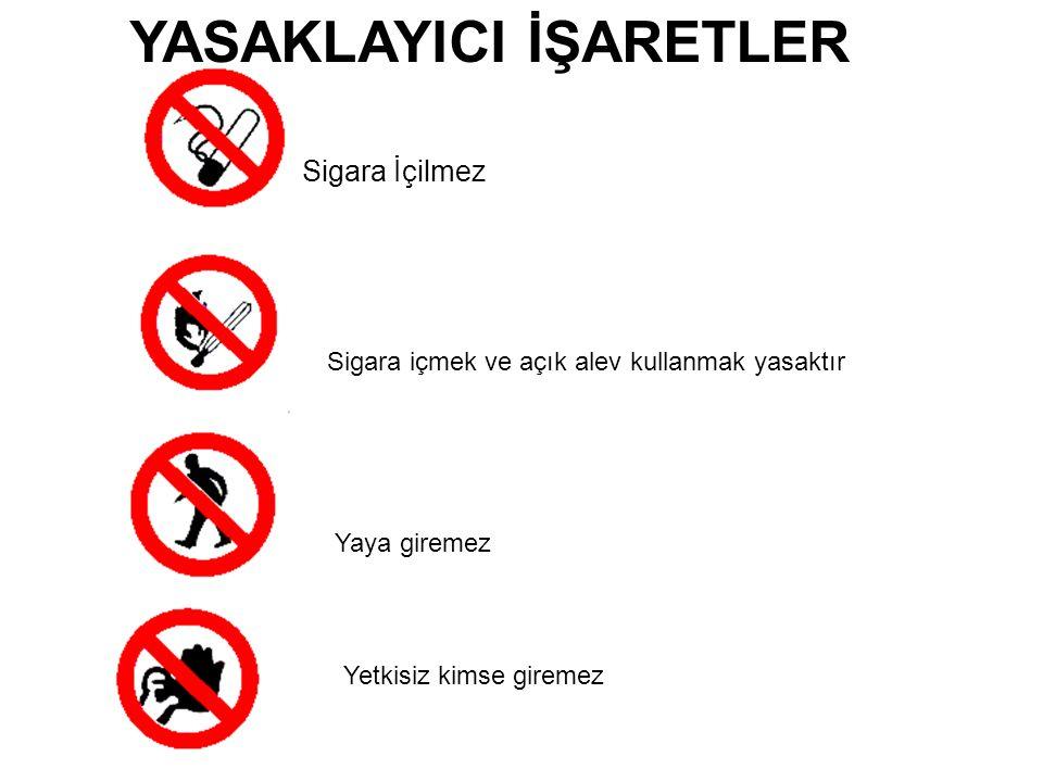 Sigara İçilmez Sigara içmek ve açık alev kullanmak yasaktır Yaya giremez Yetkisiz kimse giremez YASAKLAYICI İŞARETLER