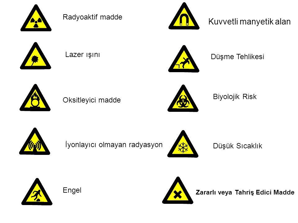 Radyoaktif madde Lazer ışını Oksitleyici madde Engel İyonlayıcı olmayan radyasyon Düşme Tehlikesi Kuvvetli manyetik alan Düşük Sıcaklık Biyolojik Risk