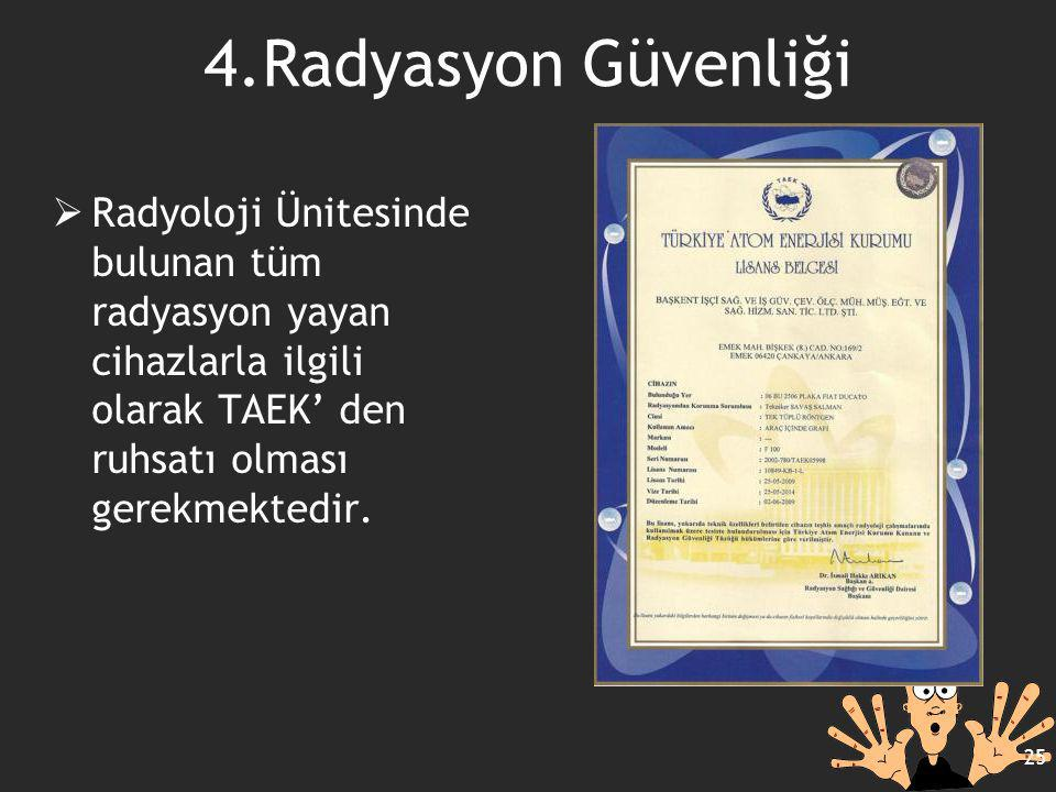 4.Radyasyon Güvenliği  Radyoloji Ünitesinde bulunan tüm radyasyon yayan cihazlarla ilgili olarak TAEK' den ruhsatı olması gerekmektedir. 25