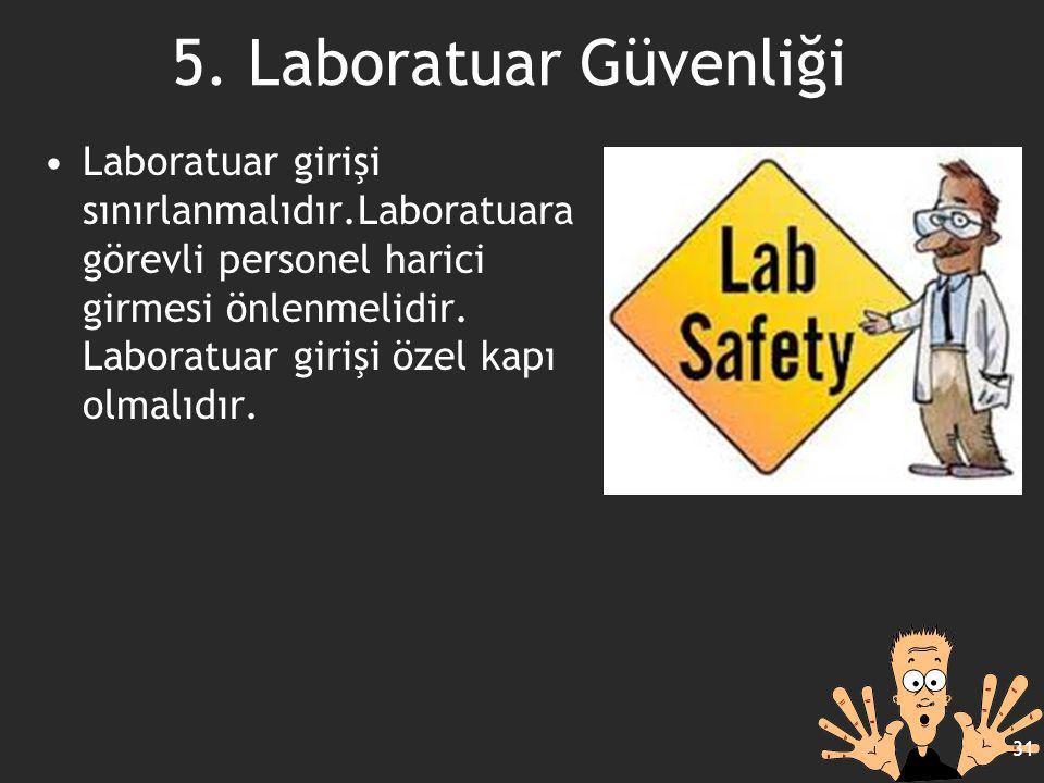 Laboratuar girişi sınırlanmalıdır.Laboratuara görevli personel harici girmesi önlenmelidir. Laboratuar girişi özel kapı olmalıdır. 31 5. Laboratuar Gü