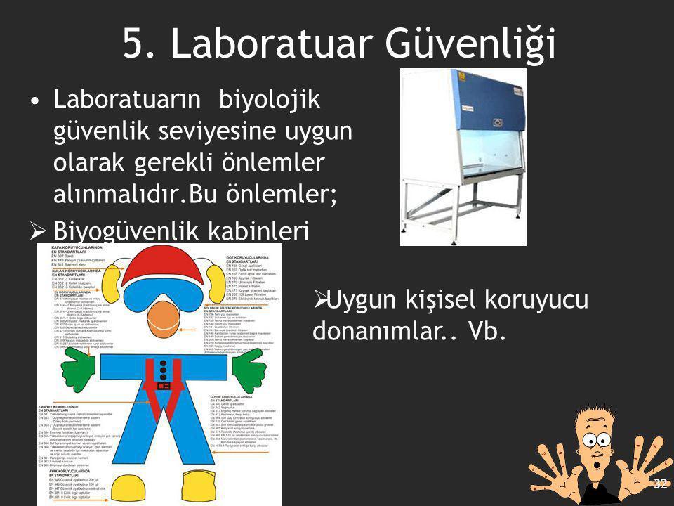 Laboratuarın biyolojik güvenlik seviyesine uygun olarak gerekli önlemler alınmalıdır.Bu önlemler;  Biyogüvenlik kabinleri 32 5. Laboratuar Güvenliği