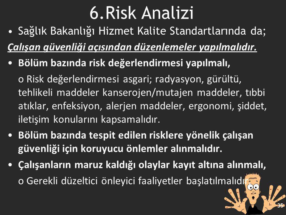 Sağlık Bakanlığı Hizmet Kalite Standartlarında da; Çalışan güvenliği açısından düzenlemeler yapılmalıdır. Bölüm bazında risk değerlendirmesi yapılmalı