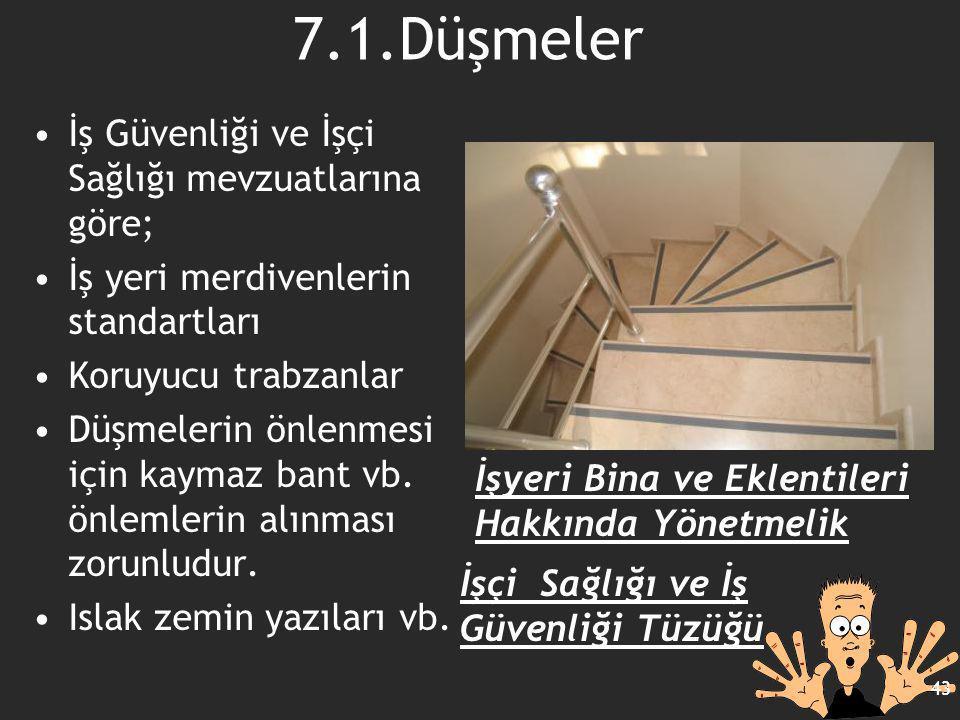 7.1.Düşmeler İş Güvenliği ve İşçi Sağlığı mevzuatlarına göre; İş yeri merdivenlerin standartları Koruyucu trabzanlar Düşmelerin önlenmesi için kaymaz