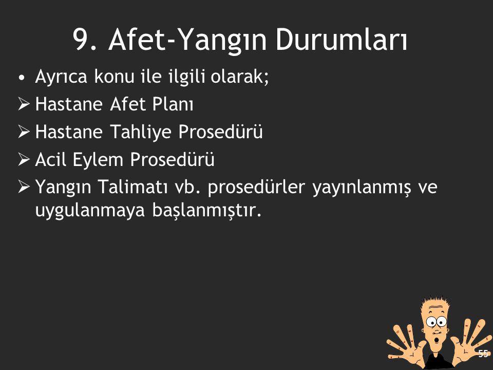 Ayrıca konu ile ilgili olarak;  Hastane Afet Planı  Hastane Tahliye Prosedürü  Acil Eylem Prosedürü  Yangın Talimatı vb. prosedürler yayınlanmış v
