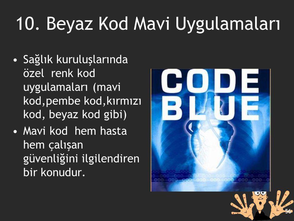 10. Beyaz Kod Mavi Uygulamaları Sağlık kuruluşlarında özel renk kod uygulamaları (mavi kod,pembe kod,kırmızı kod, beyaz kod gibi) Mavi kod hem hasta h