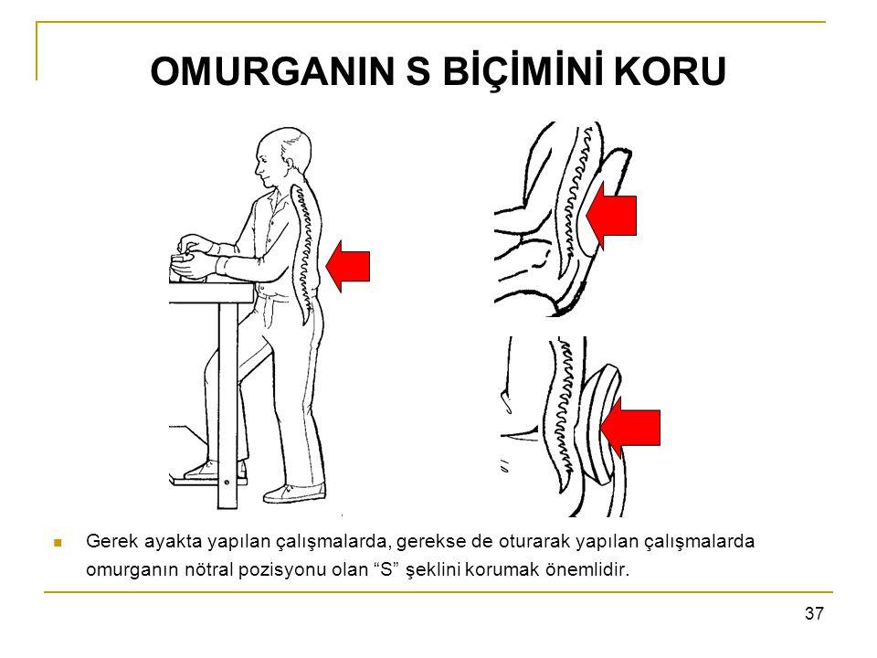 """37 OMURGANIN S BİÇİMİNİ KORU Gerek ayakta yapılan çalışmalarda, gerekse de oturarak yapılan çalışmalarda omurganın nötral pozisyonu olan """"S"""" şeklini k"""