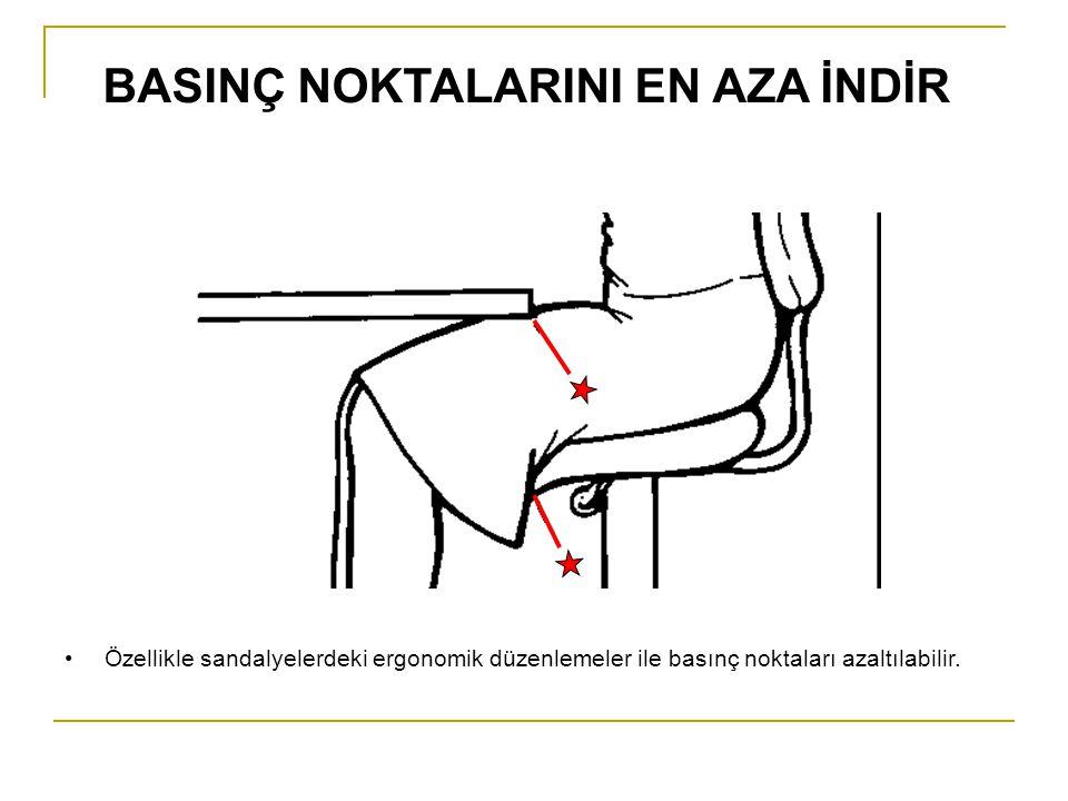 Özellikle sandalyelerdeki ergonomik düzenlemeler ile basınç noktaları azaltılabilir. BASINÇ NOKTALARINI EN AZA İNDİR