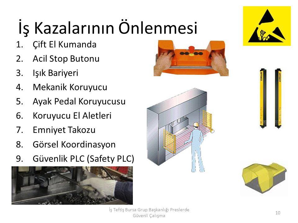 İş Kazalarının Önlenmesi 1.Çift El Kumanda 2.Acil Stop Butonu 3.Işık Bariyeri 4.Mekanik Koruyucu 5.Ayak Pedal Koruyucusu 6.Koruyucu El Aletleri 7.Emniyet Takozu 8.Görsel Koordinasyon 9.Güvenlik PLC (Safety PLC) İş Teftiş Bursa Grup Başkanlığı Preslerde Güvenli Çalışma 10