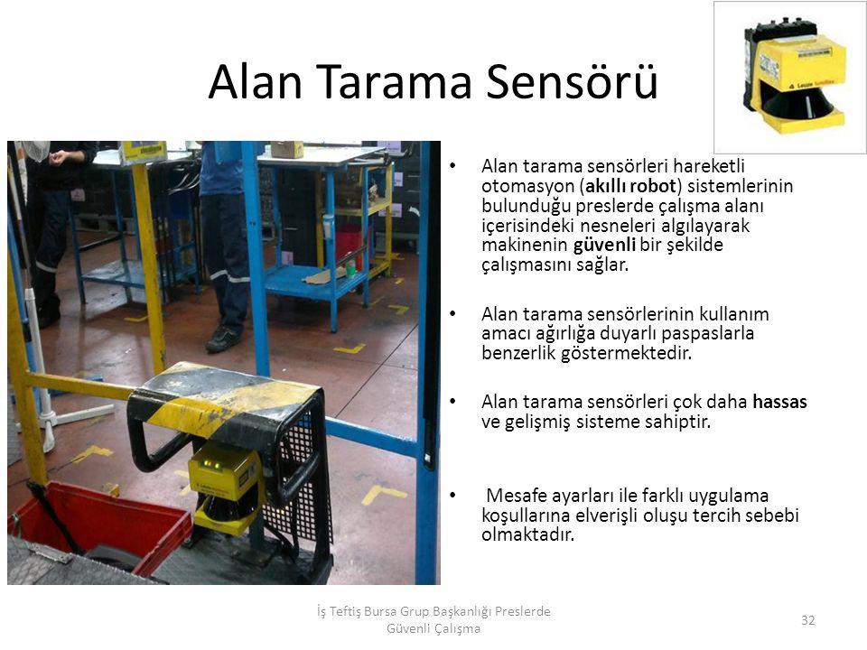 Alan Tarama Sensörü Alan tarama sensörleri hareketli otomasyon (akıllı robot) sistemlerinin bulunduğu preslerde çalışma alanı içerisindeki nesneleri algılayarak makinenin güvenli bir şekilde çalışmasını sağlar.