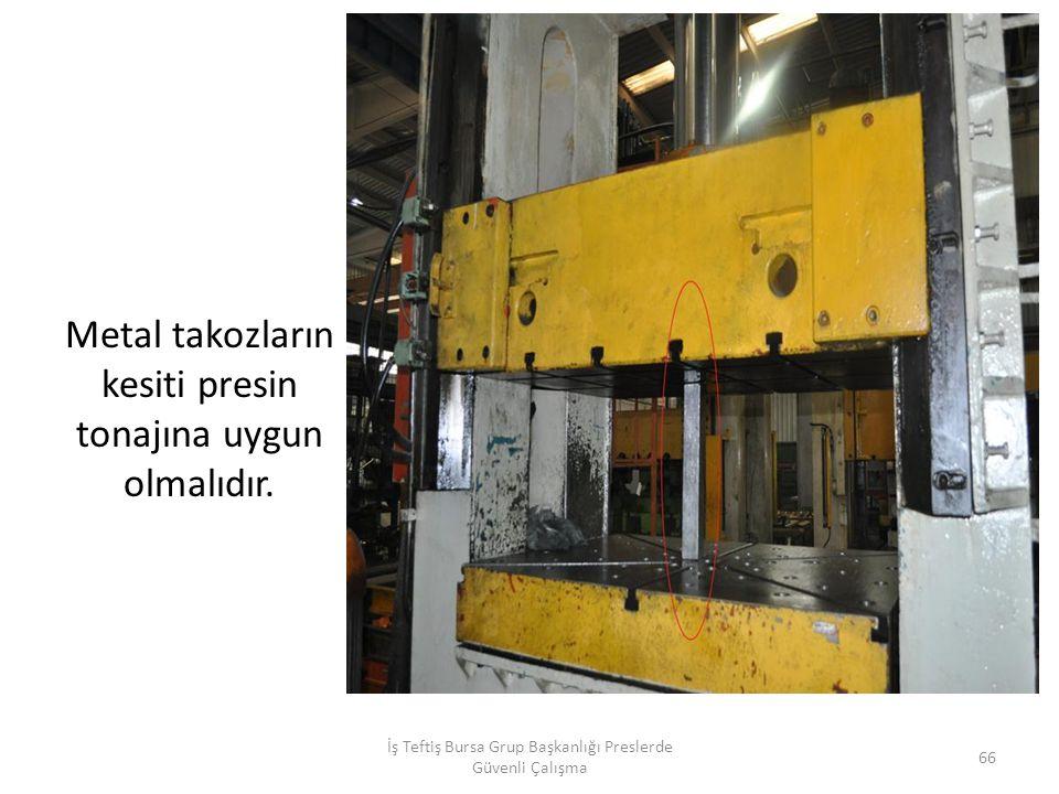 Metal takozların kesiti presin tonajına uygun olmalıdır.