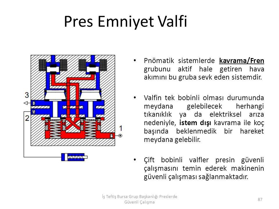 Pres Emniyet Valfi Pnömatik sistemlerde kavrama/Fren grubunu aktif hale getiren hava akımını bu gruba sevk eden sistemdir.
