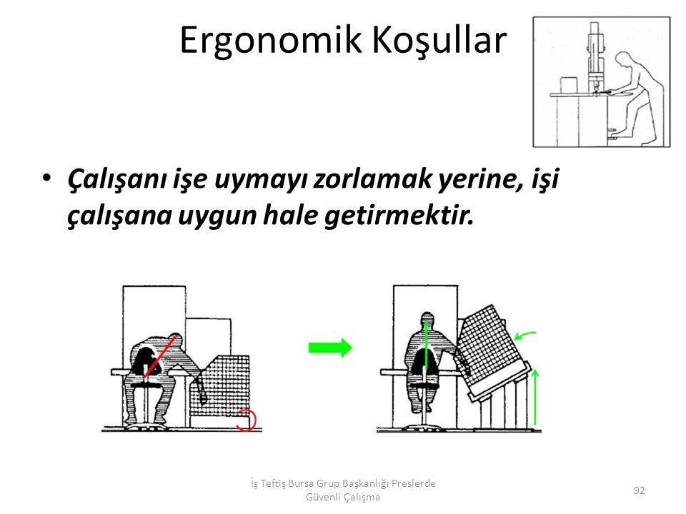 Ergonomik Koşullar Çalışanı işe uymayı zorlamak yerine, işi çalışana uygun hale getirmektir.