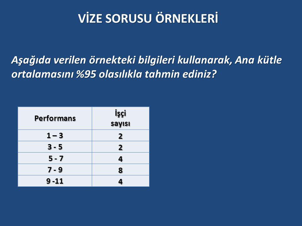 Performansİşçisayısı 1 – 3 2 3 - 5 2 5 - 7 5 - 7 4 7 - 9 8 9 -11 4 Aşağıda verilen örnekteki bilgileri kullanarak, Ana kütle ortalamasını %95 olasılık