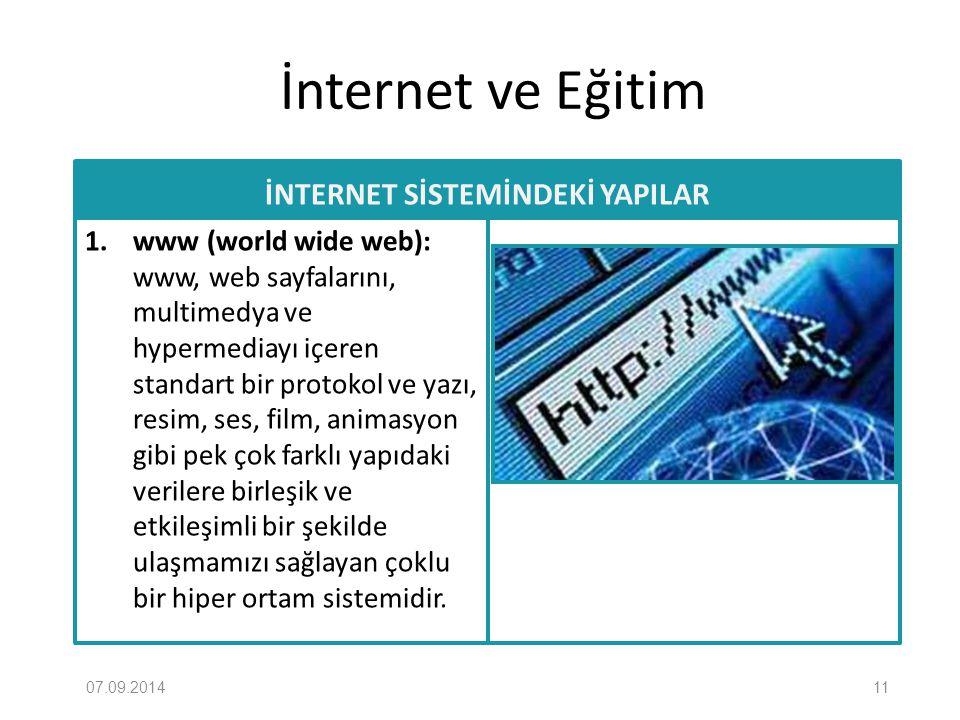 İnternet ve Eğitim İNTERNET SİSTEMİNDEKİ YAPILAR 1. www (world wide web): www, web sayfalarını, multimedya ve hypermediayı içeren standart bir protoko