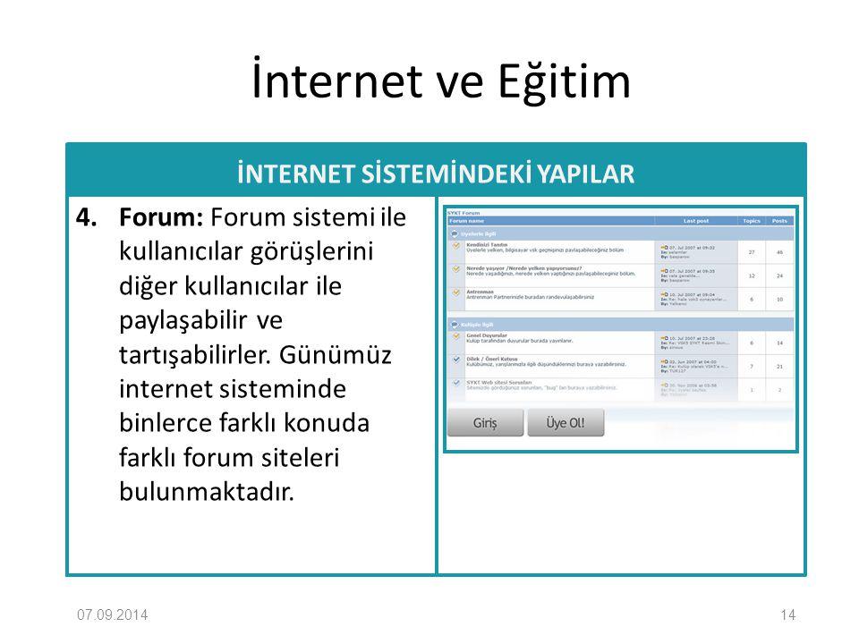 İnternet ve Eğitim İNTERNET SİSTEMİNDEKİ YAPILAR 4. Forum: Forum sistemi ile kullanıcılar görüşlerini diğer kullanıcılar ile paylaşabilir ve tartışabi