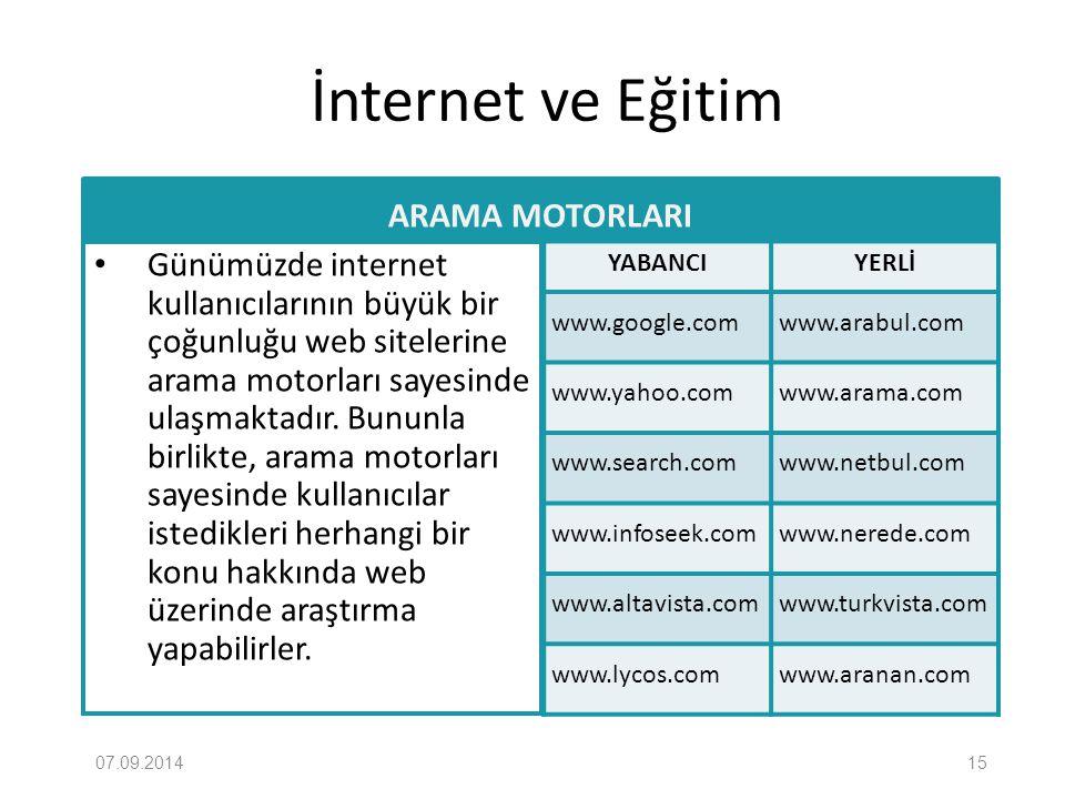 İnternet ve Eğitim ARAMA MOTORLARI Günümüzde internet kullanıcılarının büyük bir çoğunluğu web sitelerine arama motorları sayesinde ulaşmaktadır. Bunu