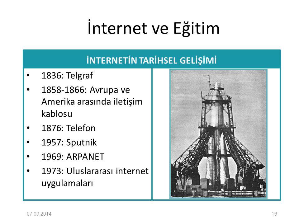 İnternet ve Eğitim İNTERNETİN TARİHSEL GELİŞİMİ 1836: Telgraf 1858-1866: Avrupa ve Amerika arasında iletişim kablosu 1876: Telefon 1957: Sputnik 1969:
