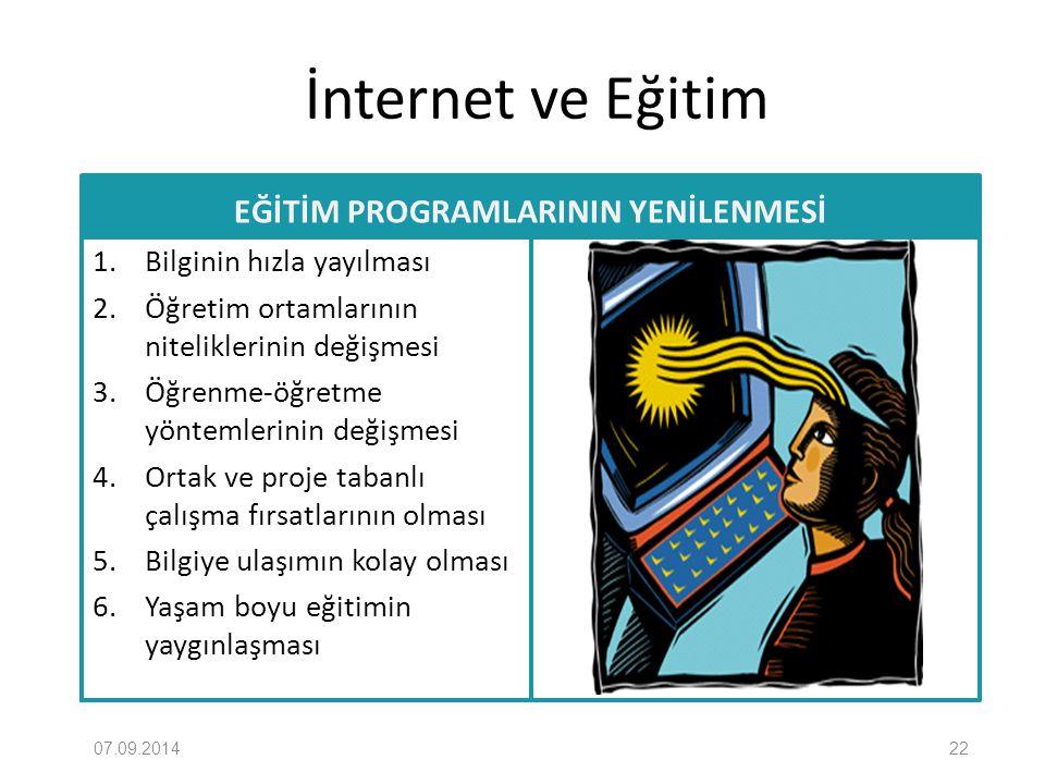 İnternet ve Eğitim EĞİTİM PROGRAMLARININ YENİLENMESİ 1. Bilginin hızla yayılması 2. Öğretim ortamlarının niteliklerinin değişmesi 3. Öğrenme-öğretme y