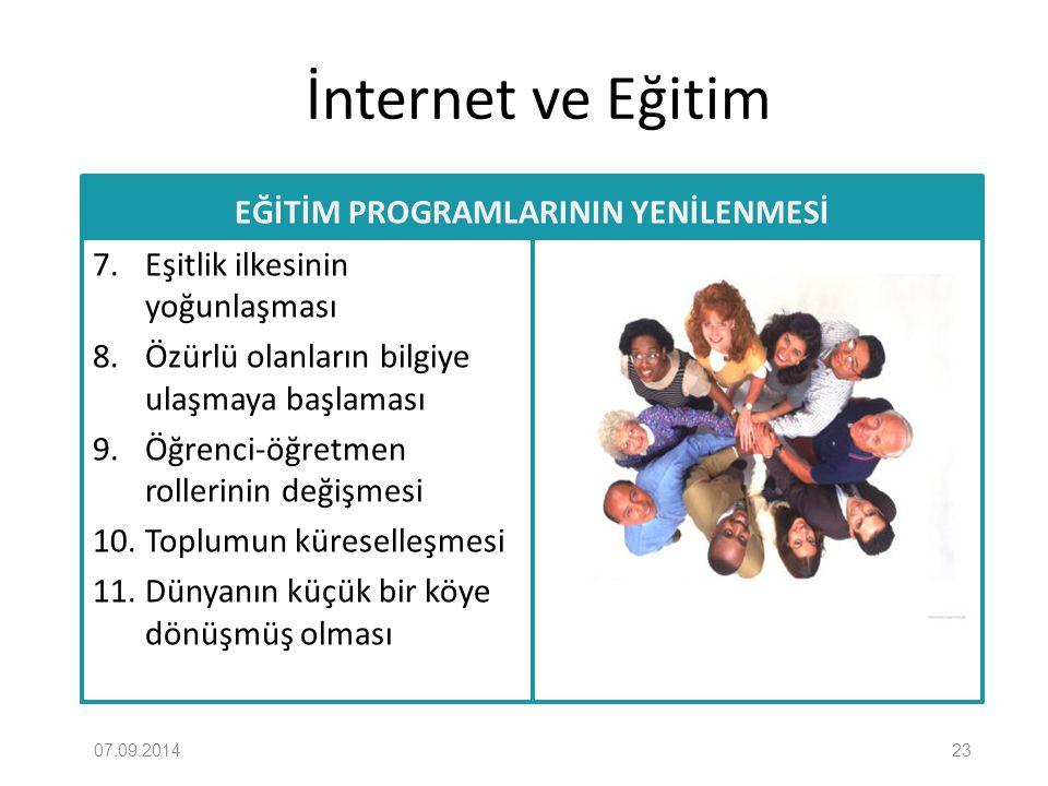 İnternet ve Eğitim EĞİTİM PROGRAMLARININ YENİLENMESİ 7. Eşitlik ilkesinin yoğunlaşması 8. Özürlü olanların bilgiye ulaşmaya başlaması 9. Öğrenci-öğret