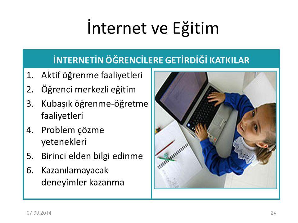 İnternet ve Eğitim İNTERNETİN ÖĞRENCİLERE GETİRDİĞİ KATKILAR 1. Aktif öğrenme faaliyetleri 2. Öğrenci merkezli eğitim 3. Kubaşık öğrenme-öğretme faali