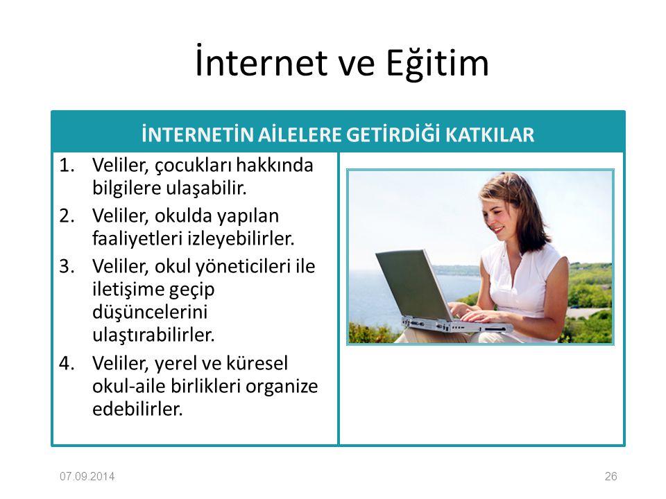 İnternet ve Eğitim İNTERNETİN AİLELERE GETİRDİĞİ KATKILAR 1. Veliler, çocukları hakkında bilgilere ulaşabilir. 2. Veliler, okulda yapılan faaliyetleri