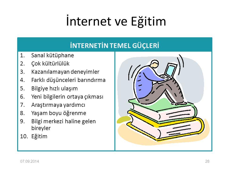 İnternet ve Eğitim İNTERNETİN TEMEL GÜÇLERİ 1. Sanal kütüphane 2. Çok kültürlülük 3. Kazanılamayan deneyimler 4. Farklı düşünceleri barındırma 5. Bilg