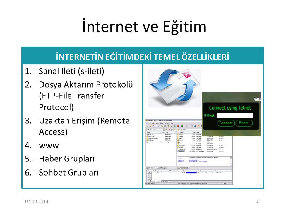 İnternet ve Eğitim İNTERNETİN EĞİTİMDEKİ TEMEL ÖZELLİKLERİ 1. Sanal İleti (s-ileti) 2. Dosya Aktarım Protokolü (FTP-File Transfer Protocol) 3. Uzaktan