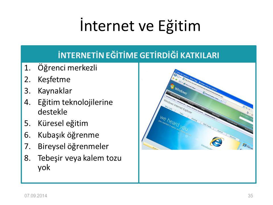 İnternet ve Eğitim İNTERNETİN EĞİTİME GETİRDİĞİ KATKILARI 1. Öğrenci merkezli 2. Keşfetme 3. Kaynaklar 4. Eğitim teknolojilerine destekle 5. Küresel e