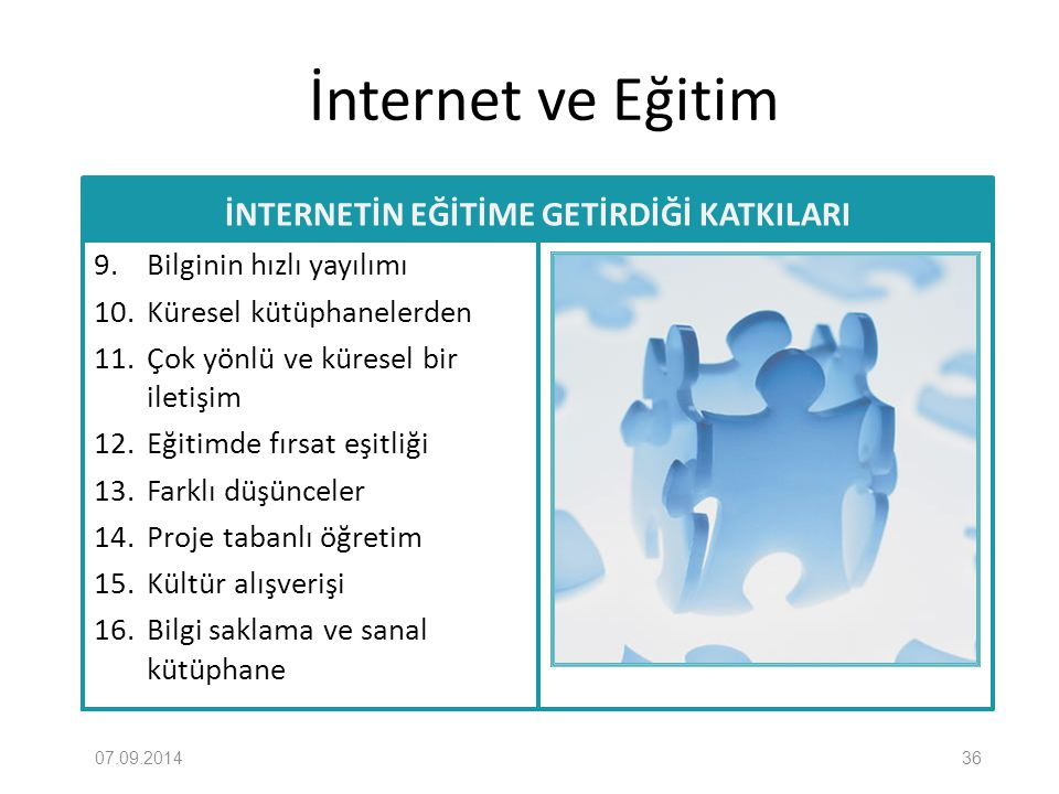 İnternet ve Eğitim İNTERNETİN EĞİTİME GETİRDİĞİ KATKILARI 9. Bilginin hızlı yayılımı 10. Küresel kütüphanelerden 11. Çok yönlü ve küresel bir iletişim
