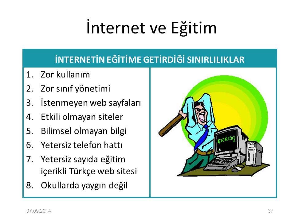 İnternet ve Eğitim İNTERNETİN EĞİTİME GETİRDİĞİ SINIRLILIKLAR 1. Zor kullanım 2. Zor sınıf yönetimi 3. İstenmeyen web sayfaları 4. Etkili olmayan site