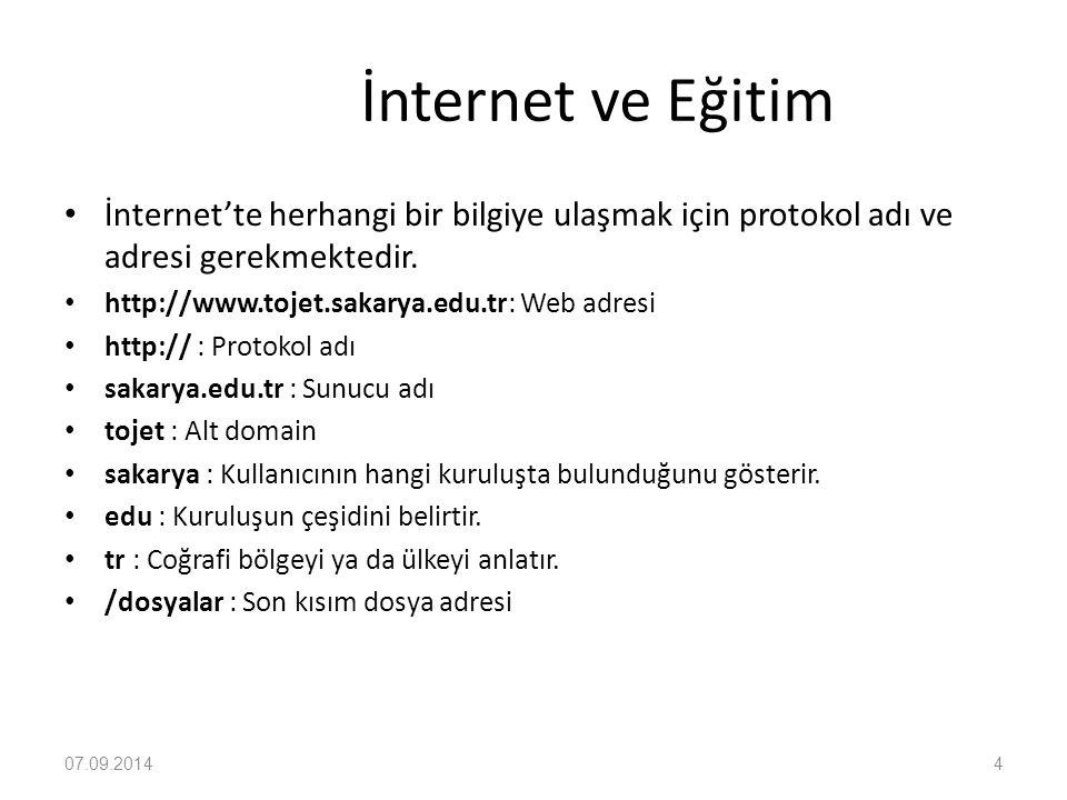 İnternet ve Eğitim ÖRNEK ADRESLER http://www.sakarya.edu.tr http://www.akbank.com.tr http://www.yok.gov.tr http://www.superonline.net.tr http://www.meb.gov.tr http://www.tojet.sakarya.edu.tr http://www.emu.edu.tr http://www.tojet.net http://www.metu.edu.tr http://www.garanti.com.tr Amerika da bulunan resmi veya ticari kurum ve kuruluşların sonuna ülke kodu gelmez.