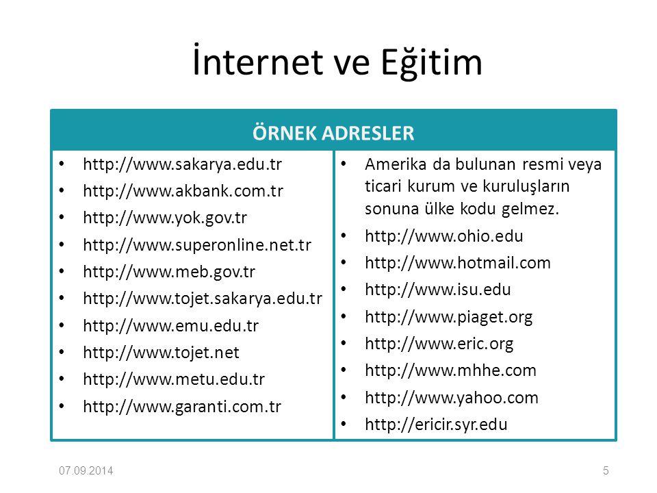 İnternet ve Eğitim ÖRNEK ADRESLER http://www.sakarya.edu.tr http://www.akbank.com.tr http://www.yok.gov.tr http://www.superonline.net.tr http://www.me