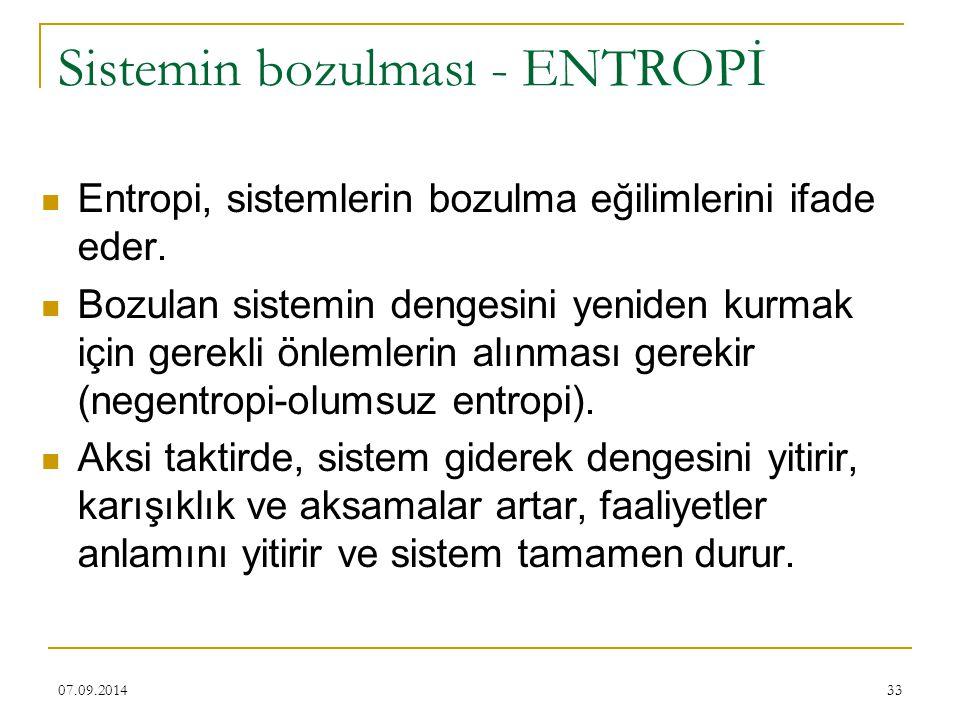 33 Sistemin bozulması - ENTROPİ Entropi, sistemlerin bozulma eğilimlerini ifade eder. Bozulan sistemin dengesini yeniden kurmak için gerekli önlemleri