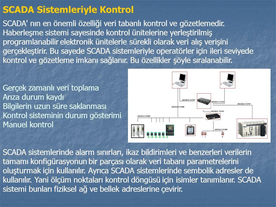 SCADA Sistemleriyle Kontrol SCADA' nın en önemli özelliği veri tabanlı kontrol ve gözetlemedir. Haberleşme sistemi sayesinde kontrol ünitelerine yerle