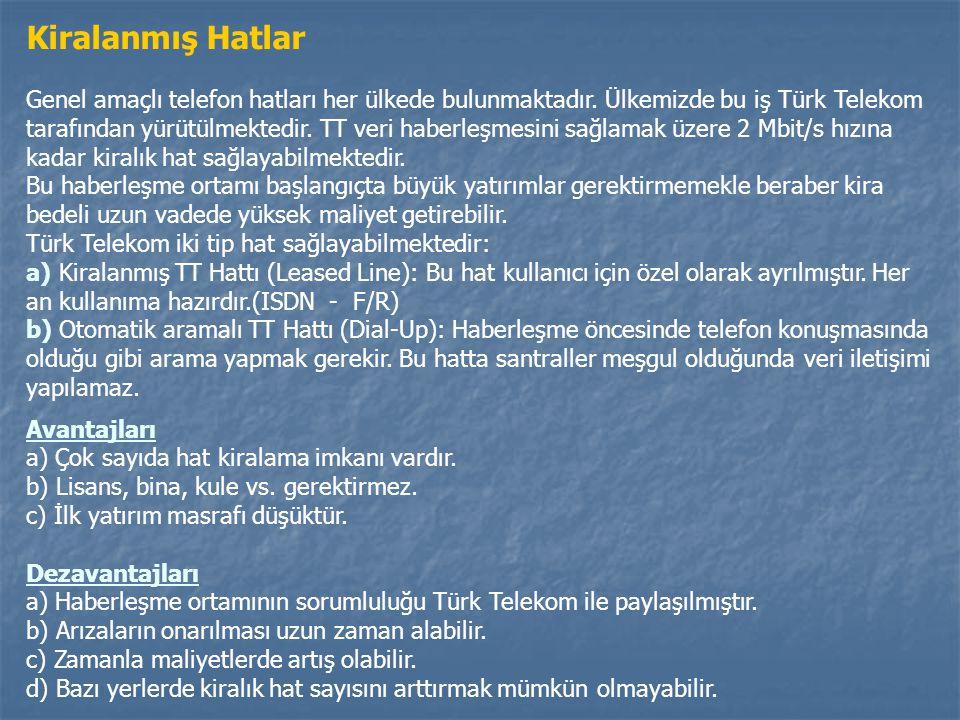 Kiralanmış Hatlar Genel amaçlı telefon hatları her ülkede bulunmaktadır. Ülkemizde bu iş Türk Telekom tarafından yürütülmektedir. TT veri haberleşmesi