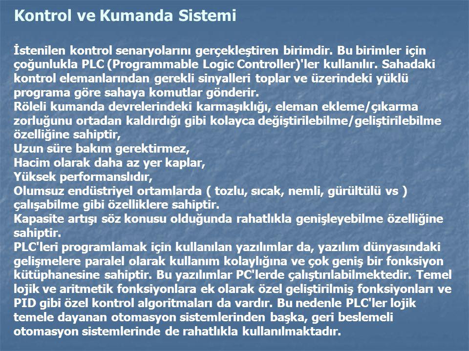 Kontrol ve Kumanda Sistemi İstenilen kontrol senaryolarını gerçekleştiren birimdir. Bu birimler için çoğunlukla PLC (Programmable Logic Controller)'le