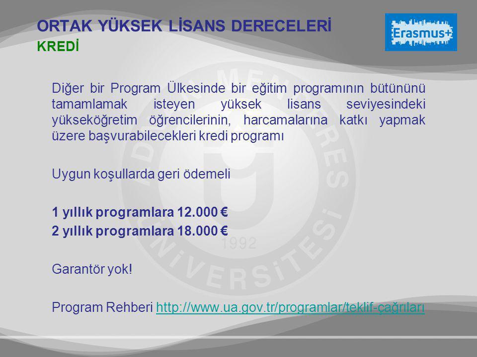 Diğer bir Program Ülkesinde bir eğitim programının bütününü tamamlamak isteyen yüksek lisans seviyesindeki yükseköğretim öğrencilerinin, harcamalarına