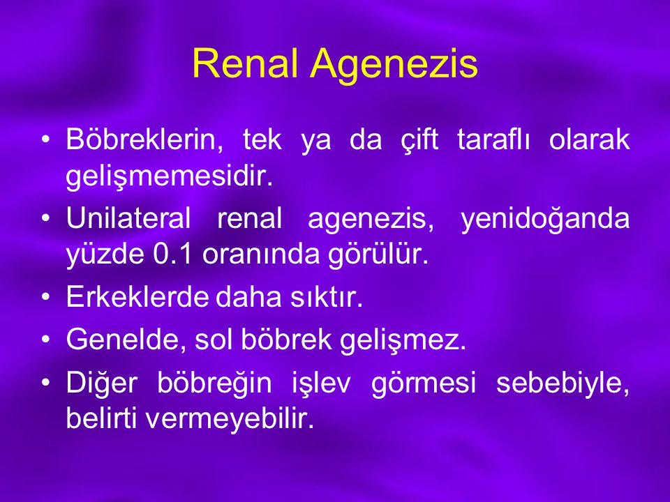 Renal Agenezis Böbreklerin, tek ya da çift taraflı olarak gelişmemesidir. Unilateral renal agenezis, yenidoğanda yüzde 0.1 oranında görülür. Erkeklerd