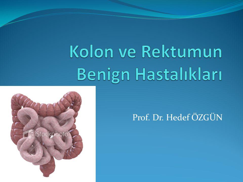 Komplikasyonlar Divertikülit Perikolik abse Pürülan peritonit – perikolik abse ruptürüne bağlı Fekal peritonit – serbest perforasyona bağlı Fistül - vagen, mesane, cilt Kolonik striktür