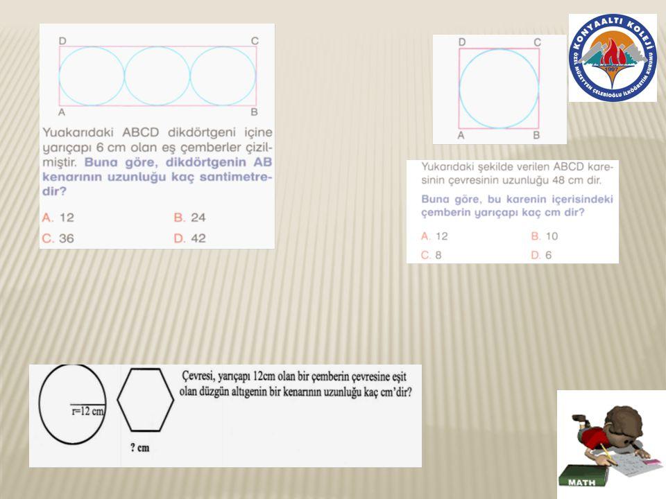 Yandaki çemberin çevresi 126 cm olduğuna göre r=.