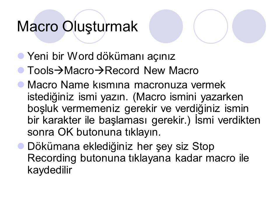 Macro Oluşturmak Yeni bir Word dökümanı açınız Tools  Macro  Record New Macro Macro Name kısmına macronuza vermek istediğiniz ismi yazın. (Macro ism