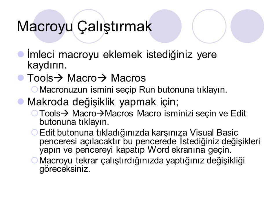 Macroyu Çalıştırmak İmleci macroyu eklemek istediğiniz yere kaydırın. Tools  Macro  Macros  Macronuzun ismini seçip Run butonuna tıklayın. Makroda