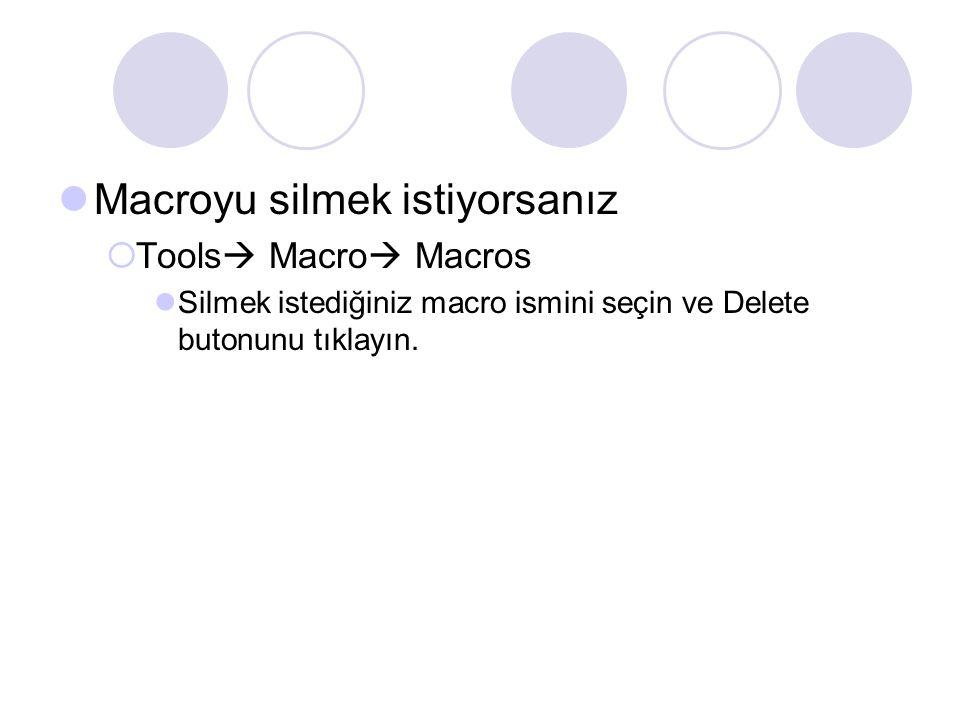 Macroyu silmek istiyorsanız  Tools  Macro  Macros Silmek istediğiniz macro ismini seçin ve Delete butonunu tıklayın.