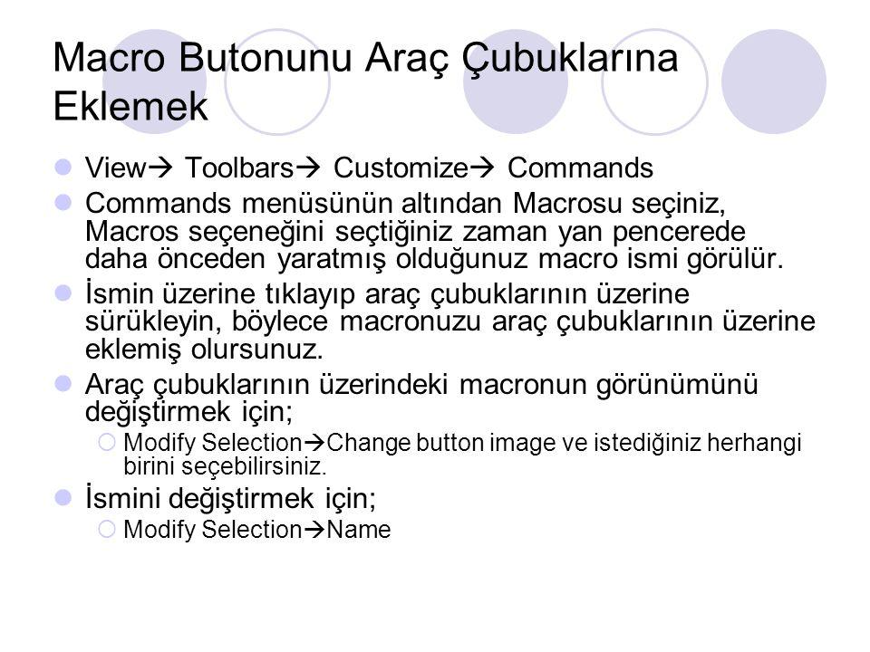 Macro Butonunu Araç Çubuklarına Eklemek View  Toolbars  Customize  Commands Commands menüsünün altından Macrosu seçiniz, Macros seçeneğini seçtiğin