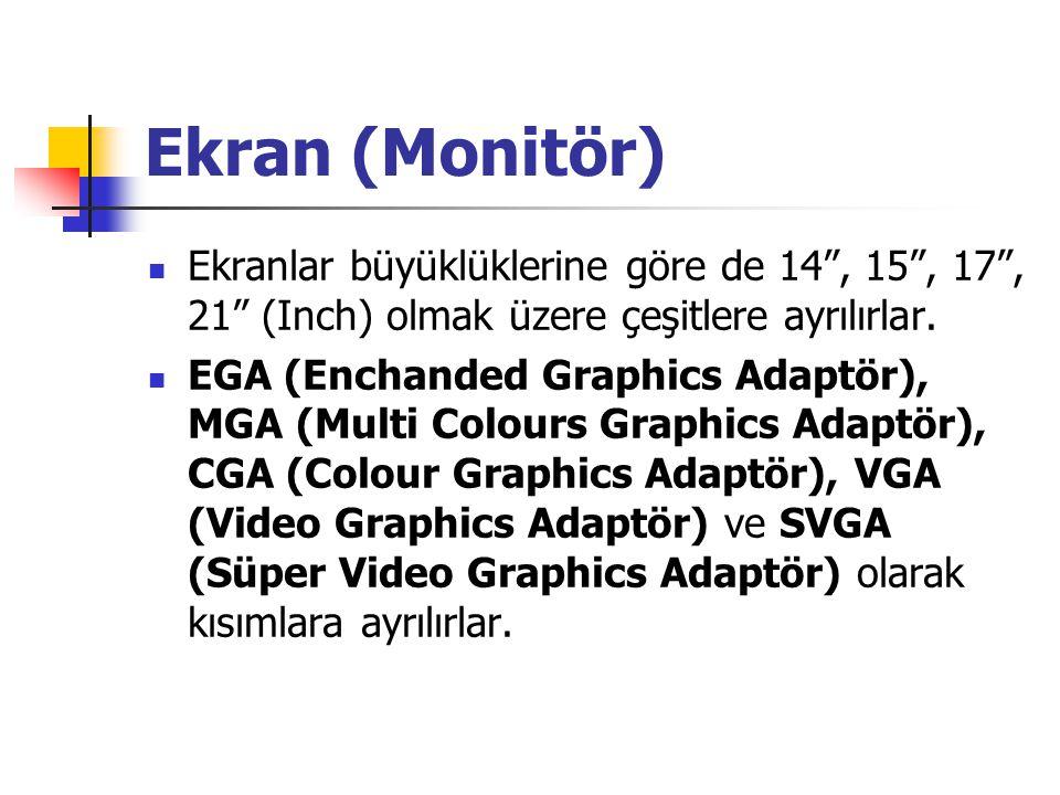 """Ekran (Monitör) Ekranlar büyüklüklerine göre de 14"""", 15"""", 17"""", 21"""" (Inch) olmak üzere çeşitlere ayrılırlar. EGA (Enchanded Graphics Adaptör), MGA (Mul"""